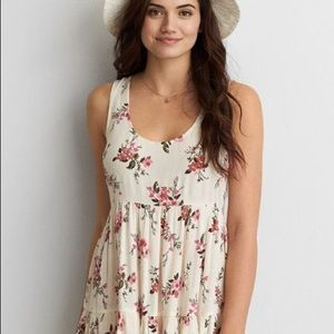 AEO Floral Cream Babydoll Dress
